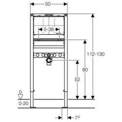 Geberit Duofix - element montażowy do umywalki dla baterii podtynkowej, H112-130
