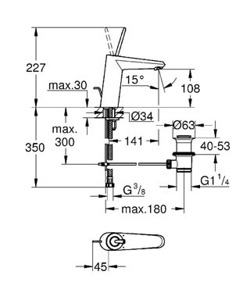 Grohe Eurodisc Joystick M - bateria umywalkowa stojąca średniej wysokości