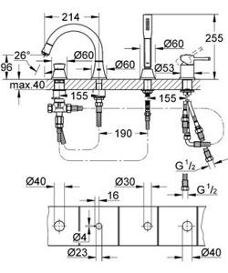 Grohe Grandera - bateria wannowa 4-otworowa