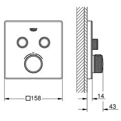 Grohe Grohtherm SmartControl - bateria podtynkowa do 2 wyjść wody, kwadratowa, szkło akrylowe