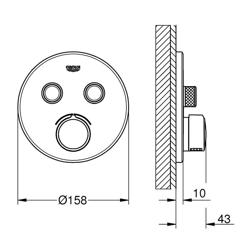 Grohe SmartControl - bateria podtynkowa do 2 wyjść wody, okrągła, chrom