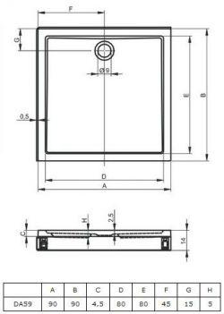 RIHO 251 - brodzik płaski 90 x 90 cm + nóżki i panel