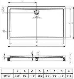 RIHO 259 - brodzik płaski 160 x 90 cm + nóżki i panel