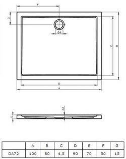 RIHO 272 - brodzik płaski 100 x 80 cm, montaż bezpośrednio na posadzce
