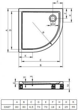 RIHO 279 - brodzik płaski  80 x 80 cm R=55 cm + nóżki i panel