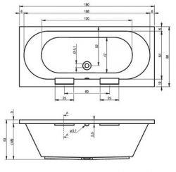 RIHO Daytona - wanna prostokątna 180 x 80 cm
