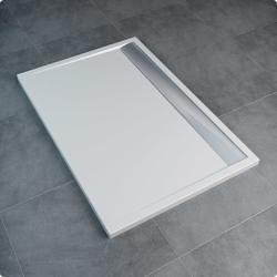 Sanswiss ILA WIA - brodzik prostokątny 90 x 160 cm, czarny granit, pokrywa srebrny połysk