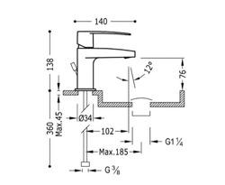 Tres Flat-Tres - bateria umywalkowa stojąca, niska z korkiem 204.103.01D